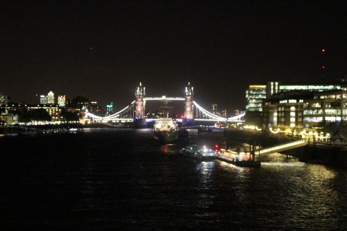 London Bridge at night; at around 8.00pm